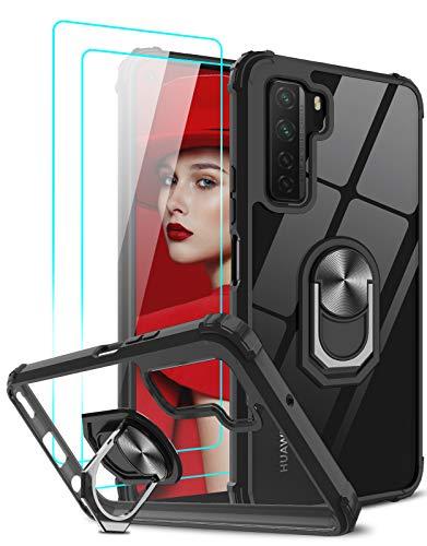 LeYi Funda Huawei P40 Lite 5G con [2-Unidades] Cristal Vidrio Templado,Transparente Carcasa con 360 Grados iman Soporte Silicona Bumper Antigolpes Armor Case para Movil P40 Lite 5G,Clear Negro