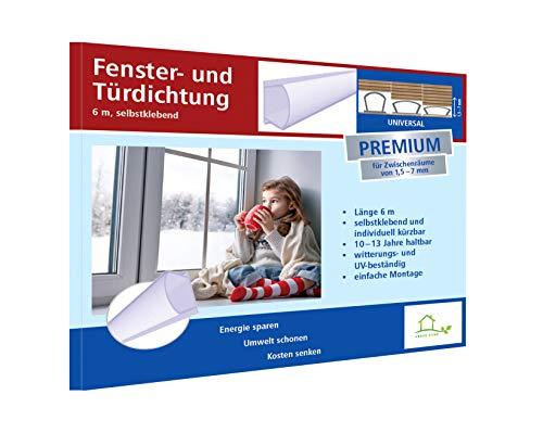 Fensterdichtung selbstklebend [SILIKON] Dichtungsband für Tür- und Fensterspalten [PREMIUM] - Für Spaltenbreiten von 1,5-7 mm – transparent
