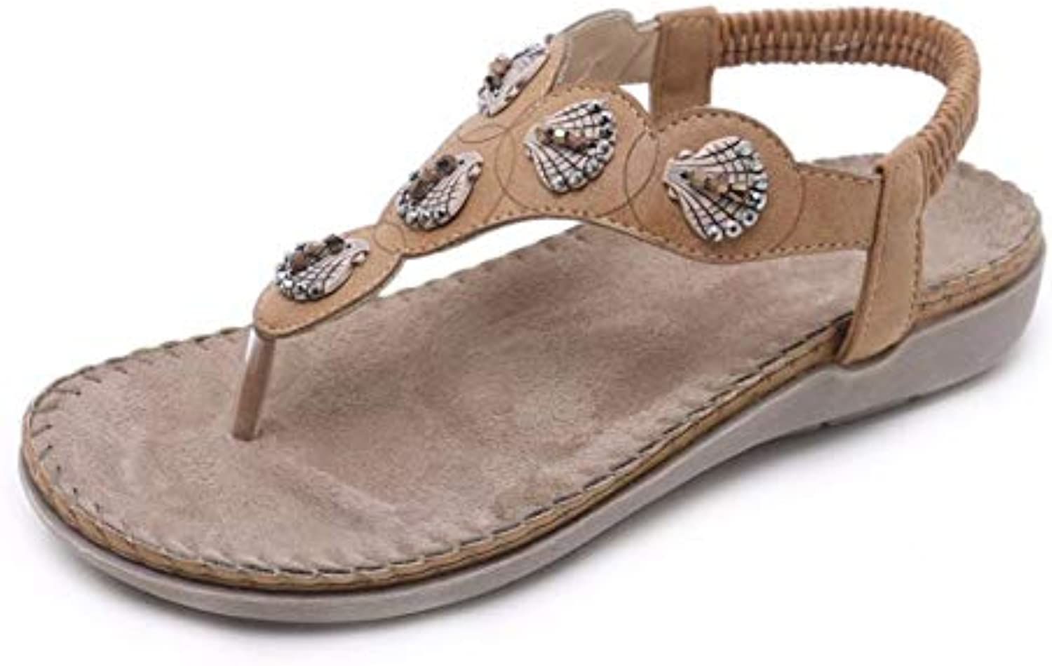 ZPSPZ sandals womens Ladies'summer Sandals, Open Toes, Toes, Bohemian Diamonds, Large Flat shoes, Beach shoes