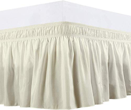 Wrap Around Bed Skirts Elastic Dust Ruffles, Easy Fit Wrinkle and Fade Resistant Silky Luxrious Fabric Solid Color, Ivory Bedskirt for King & Cal-King Size Beds 14 Inches Drop