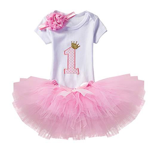 NNJXD Mädchen Newborn 1. Geburtstag 3 Stück Outfits Strampler + Tutu Kleid + Stirnband Größe (1) 1 Jahr Rosa