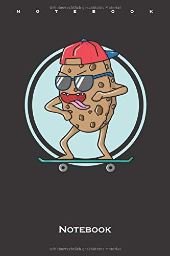 cool cookie on skateboard Notebook: Dot Grid Journal/Logbook for Sweet tooth and cookie lovers