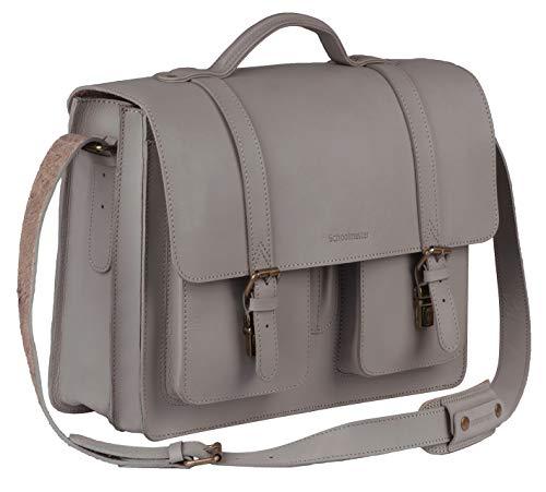 Schoolmaster New Classic - Grey, Klassische Ledertasche & Aktentasche aus echtem Leder, viele Innenfächer, Laptoptasche, Umhängetasche & Lehrertasche für Damen & Herren