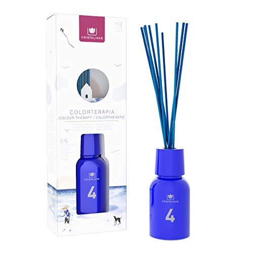 CRISTALINAS Ambientador Mikado Colorterapia de 125ml. Cristal Azul, con más de 12 semanas de duración. Aroma Flor de Agua y Bergamota. (125ml)