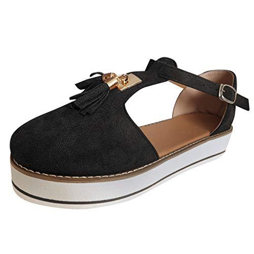 LuckyGirls Bombas Planas de Punta Redonda con borlas para Mujer Zapatos de Playa con Correa de Hebilla Inferior Gruesa