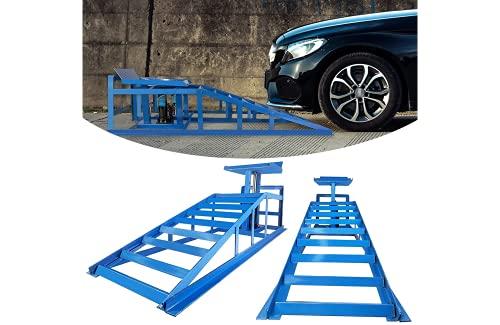 2 Stück Auffahrrampe mit hydraulischem Wagenheber 2000kg Laderampe höhenverstellbar Reifenbreite bis 225mm für PKW und Kleintransporter