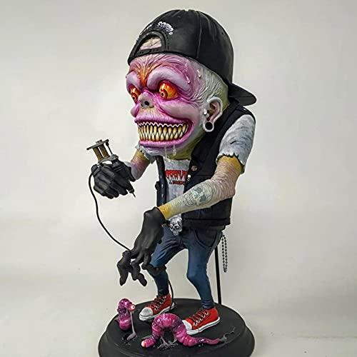 JLKDF Monstruo de Boca Grande Enojado - Monstruo Espeluznante de Halloween Estatua de decoración de Halloween Escultura de jardín Monstruo Decoración del hogar Figurita Pesadilla Bruja A