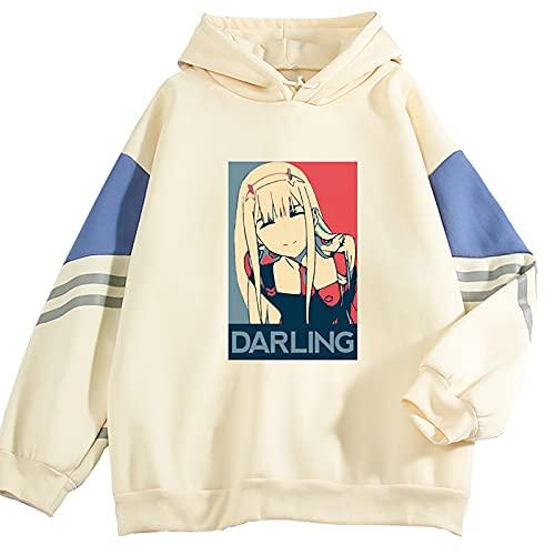 Anime Darling in The FRANXX Hoodie Unisex Streetwear Zero Two Sudadera de Manga Larga con Bloqueo de Color 02 Sudadera con Capucha
