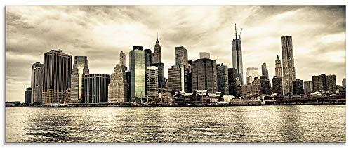 Artland Glasbilder Wandbild Glas Bild einteilig 125x50 cm Querformat Städte USA Amerika New York City Manhattan Skyline T9MX