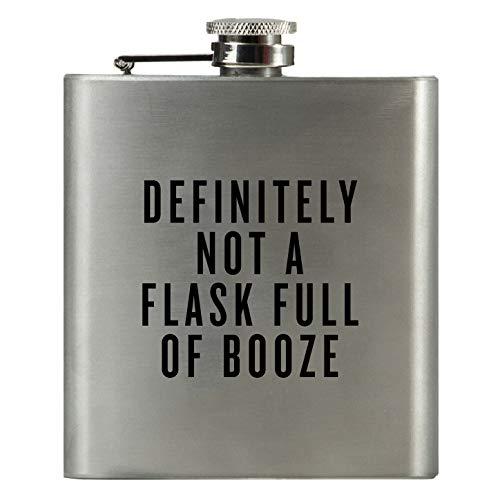 Definitely NOT A Flask Full of Booze | Damn Fine Hip Flask | 6oz Stainless Steel | Funny Men's, Groomsman, Husband, Wife, Women's Liquor Gift