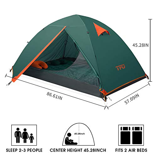 TFO Camping 2 Person Tents, Ultralight Backpacking Single Aluminum Pole Tent PU3000mm Waterproof Rainfly & Floor with Footprint 2 Door Easy Set up