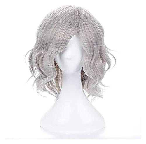 JPSOUP 35 cm Monte Cristo Edmond Fate Grand Order Pedd Fgo Avenger Gray Curly Synthetic Hair Cosplay Wig Halloween Disfraz Wig + Wig Cap
