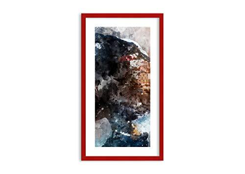 Imagen en un marco de madera de color rojo - Imagen en un marco - Cuadro sobre lienzo - mujer abstracción - 45x80cm - Impresión en lienzo - Imagen Impresión - Cuadros Decoracion - F1RPA45x80-3
