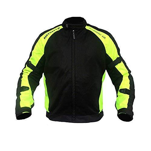 MOTOTECH Scrambler Air Motorcycle Riding Jacket - Combo Colors (Flourescent Green, Medium)