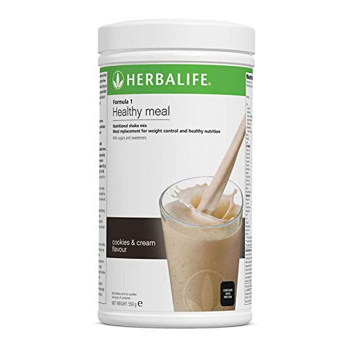 Herbalife 2 x Formula 1 Nutritional Shake Mix Cookies & Cream 550 g + 1 Fabric Tape, 1 Shaker, 1 Small Tablet Box and 1 Measuring Spoon.- Marco Pecorella Herbalife Member