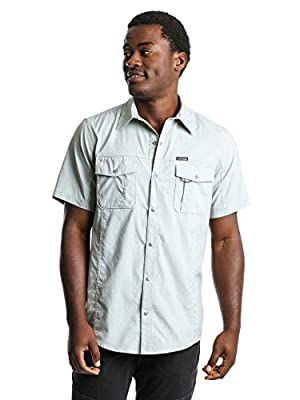 ATG by Wrangler Men's Short Sleeve Flap Pocket Hike Shirt, Grey, XXL