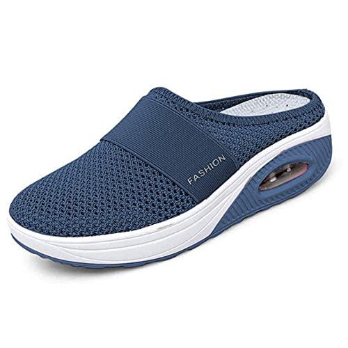 Stallone Zapatos para Caminar sin Cordones con cojín de Aire para Mujer, Sandalias Informales con Plataforma con cojín de Aire, Zapatillas de Malla, Zapatos de Playa Ligeros (Navy Blue,38)