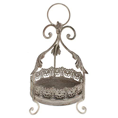 MACOSA Blumen-Krone, Vintage, Handarbeit Metall Antik-beige/grau 26 cm Shabby Chic Garten-Dekoration Gartenkrone Metallkrone Pflanzkrone
