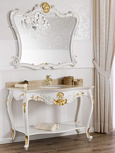 Simone Guarracino Consolle e Specchio Eleonor Stile Barocco Decape arredo Bagno Avorio e Foglia Oro Marmo Crema