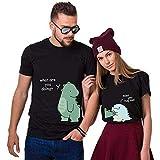 Dinosauro Carino Couple Coppia T-Shirt,Maglietta a Maniche Corte in Cotone,Idea Regalo per San...