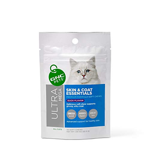 GNC Pets Ultra Mega Skin & Coat Essentials Soft Chews for Cats, 30 Count - Duck Flavor | Advanced Support for Healthy Skin | Healthy and Natural Pet Supplements