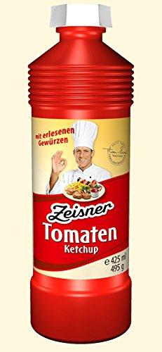 Zeisner Ketchup Probierpaket mit je 1x 425 ml Flasche (6 Flaschen) Tomaten und Curry Ketchup Schaschlik, Curry China und Barbecue Sauce