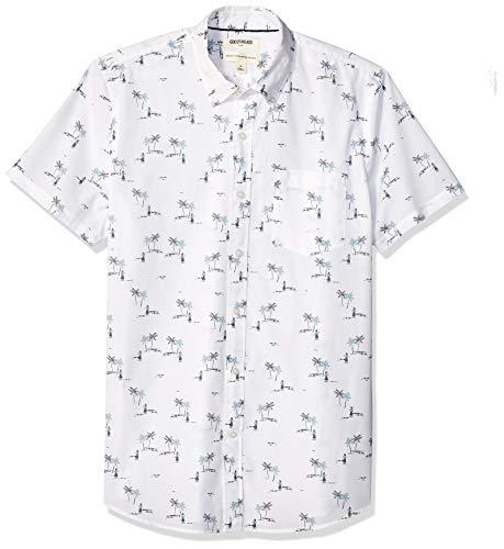 Marca Amazon – Goodthreads – Camisa estampada de manga corta de popelín y corte estándar para hombre, White Aloha Print, US XXL (EU XXXL - 4XL)