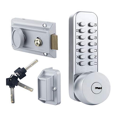 Stainless Steel 100% Mechanical Keyless Entry Door Lock with Keypads Door knob, Waterproof Door Keypad Deadbolt Locks, Digital Code Combination Door Lock with Handle, Easy to Install(2 in 1 Code/Key)
