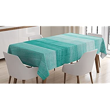 Ambesonne Teal Decor Tablecloth, Painted Wood Texture Penal Horizontal Lines Birthdays Easter Holiday Print Backdrop, Dining Room Kitchen Rectangular Table Cover, 60 X 84 inches, Turquoise