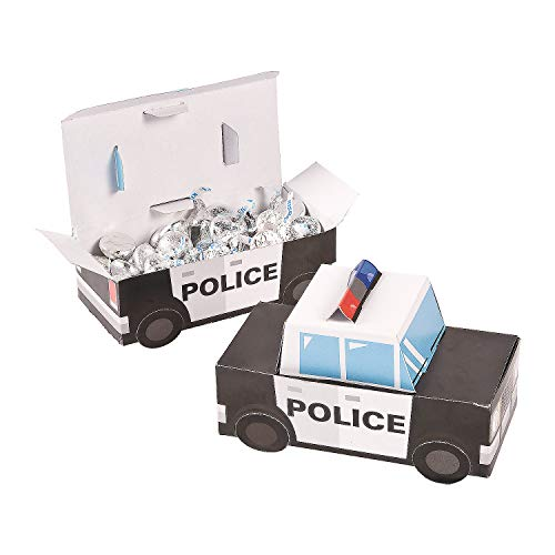 Patrol Car Police Party Favor Treat Boxes - 12 Piece