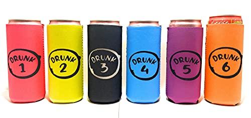 Baxendale Große Dosenmanschette für schlanke Dosen & hohe Bierdosen – Set mit 6 isolierten Kühlhüllen, um Getränke kalt zu halten kompatibel Truly, Michelob Ultra, Seltzers, Redbull (Neon Drunk)