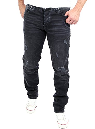 Reslad Jeans Herren Slim Fit I Stretch Jeans Hose Männer in Destroyed-Look I Riesenauswahl an Größen I Jeans in schwarz Denim I RS-2069 W32 / L32