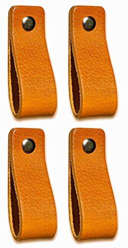 Ledergriffe Möbel   Gelb - 4 Stück   Ledergriff für Schränke, die Küche und Tür   Lieferung mit Schrauben in 3 Farben