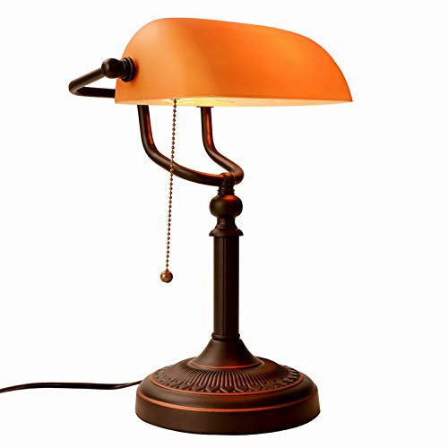 JEUNEU Matte Amber Glass Bankers Desk Lamp with Pull Chain Switch Plug in Lighting Fixture