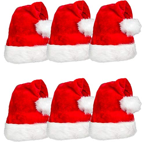 6 Pack Plush Santa Hat Confortable Velvet Red Christmas Hat for Christmas Party Favors Fit for Adults and Kids