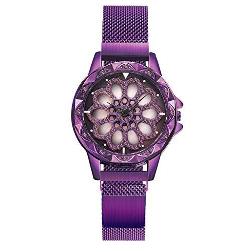 GLEMFOX dameshorloge vrouwen slank ultradun minimalistisch waterdicht horloge mode elegant casual roestvrij staal rooster kwartshorloge vrouwen meisjes armband paars