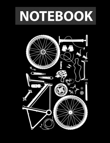 Bike Parts - Downhill Rider Mountainbike MTB Cycling Notebook 8.5''x11'' College Ruled