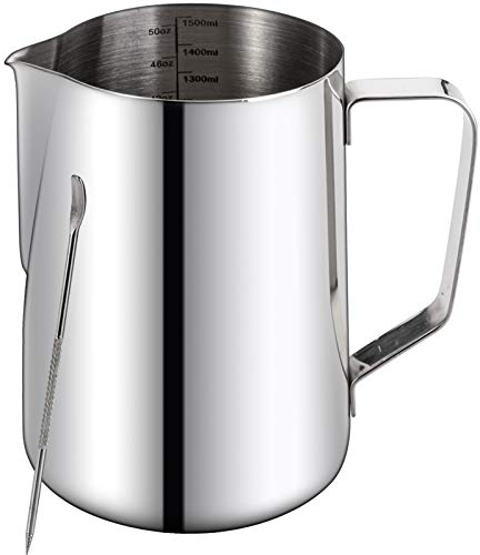 Nicunom 50oz Milk Frothing Pitcher Stainless Steel Coffee Tools Cup Steaming Pitchers with Decorating Art Pen Milk Coffee Cappuccino Latte Art Milk Jug Cup for Espresso Machines Latte Art