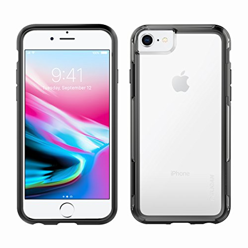 Pelican iPhone Case for 6,7,8, and SE, Adventurer Series - Military Grade Drop Tested, TPU, Polycarbonate Case for Apple iPhone 6,7,8, and SE (Clear/Black) (C35100-000A-CLBK)