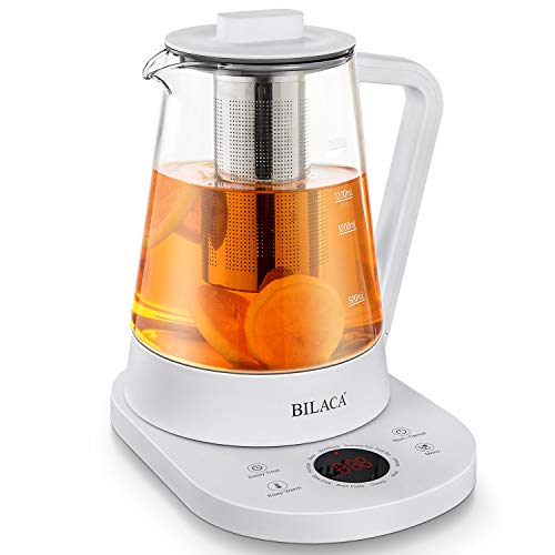 Electric Tea Maker And Kettle 1.5 Liter Glass BILACA Slow Cook Master With Presets Temperature One Touch Kitchen Health Pot for Tea Coffee Soup Dessert,White