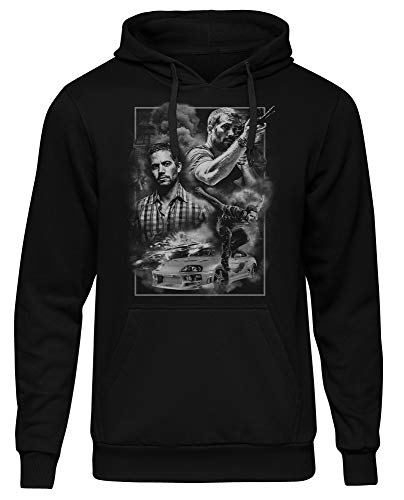 Uglyshirt89 Paul Walker Männer und Herren Kapuzenpullover | Retro Vintage Kult (L, Schwarz Druck:Weiß)