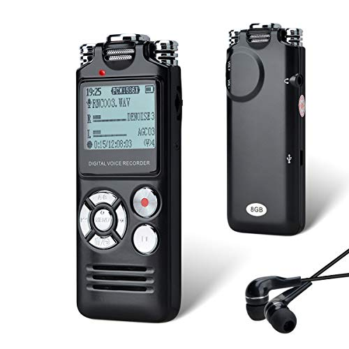 Lychee Grabadora de Voz Digital Portátil, 8GB Dictáfono Grabador de Sonido,Audio HD Grabador Portatil Recargable con Doble Micrófono,MP3,Repetición A-B Grabación,Conferencias Entrevistas Clase