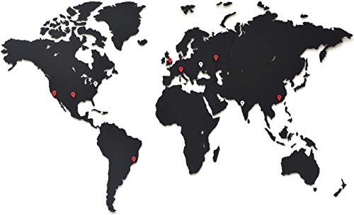 MiMi Innovations - Decoración de Pared de Mapa del Mundo de Madera 90 x 54 cm - Negro