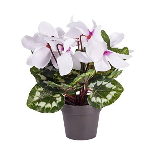 vivaDOMO® Alpenveilchen naturgetreu Kunstpflanze Dekopflanze Pflanzenpracht Höhe: 37 cm 100% Polyester Zimmerpflanze Kunstblume im Topf