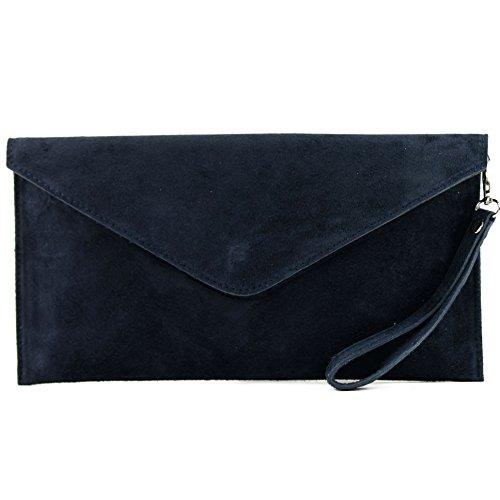 modamoda de - T106 - ital Clutch/Abendtasche aus Wildleder, Farbe:Dunkelblau