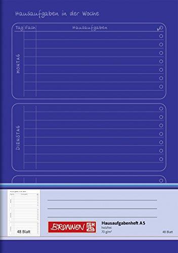 Brunnen 1046814 Hausaufgabenheft (A5, 48 Blatt) blau