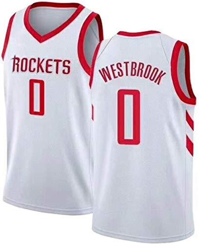WSUN Camiseta De Baloncesto Ropa De Baloncesto para Hombres NBA Rockets # 0 Russell Westbrook Fan Jersey Chalecos Sin Mangas Bordados Clásicos,B,XXL(185~190CM/95~110KG)