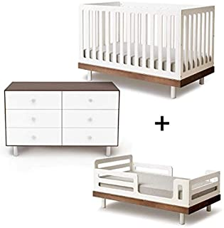 Oeuf Classic Collection Complete Nursery in Walnut with 6 Drawer Dresser