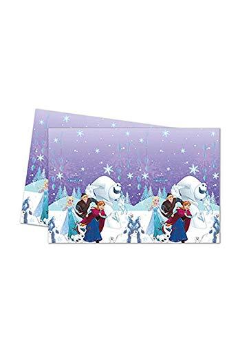 Folat B.V. Procos 87900 Frozen, Mantel de Plástico con Copos de Nieve, Multicolor, 120 x 180 cm