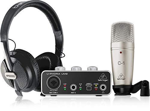 Behringer U-PHORIA STUDIO Bundle completo di registrazione / podcast con interfaccia audio USB, microfono a Condensatore, Cuffie da Studio